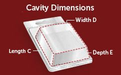 Clamshell Cavity Dimensions